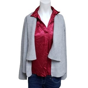 4/$30 Denver Hayes gray open front knit cardigan